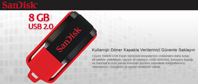 SanDisk SDCZ52-008G-B35 8 GB Cruzer Switch USB Bellek