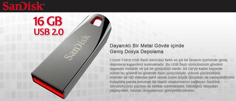 SanDisk SDCZ71-016G-B35 16 GB Cruzer Force USB Bellek