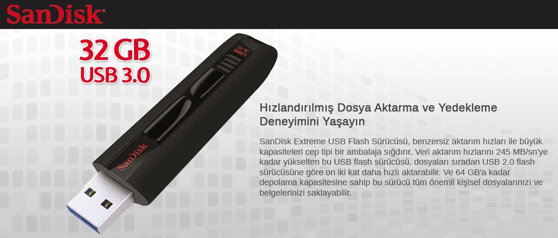 SanDisk SDCZ80-032G-B35 32 GB Extreme 3.0 USB Bellek